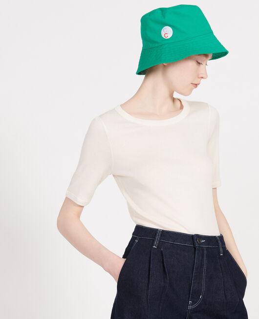 T-Shirt mit feinem Rippstrick aus merzerisierter Baumwolle BUTTERCREAM