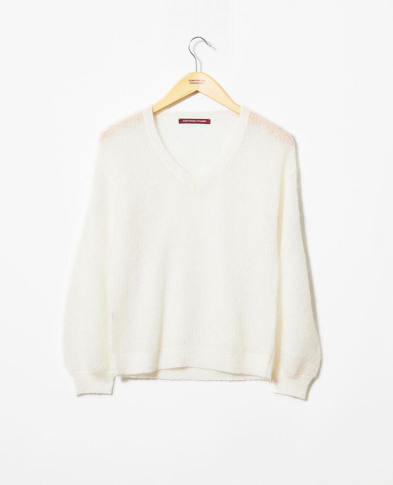 Pullover mit V-Ausschnitt mit Mohair Off white Iceve