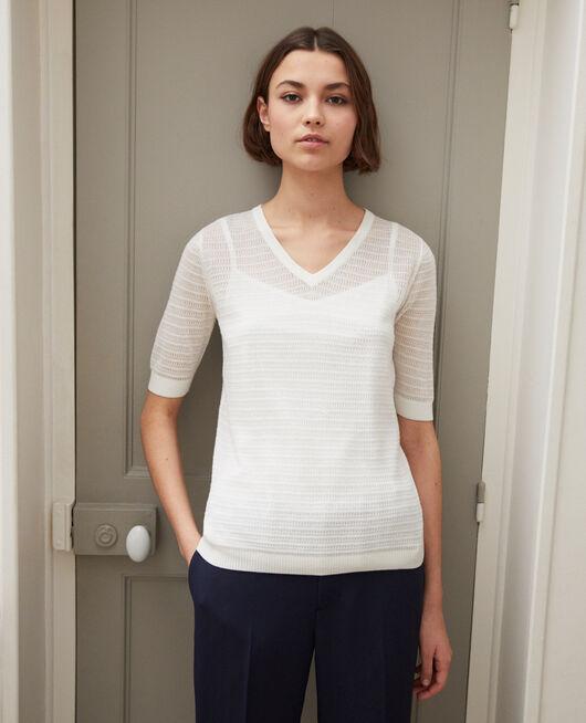 T-shirt en maille en coton et soie OFF WHITE
