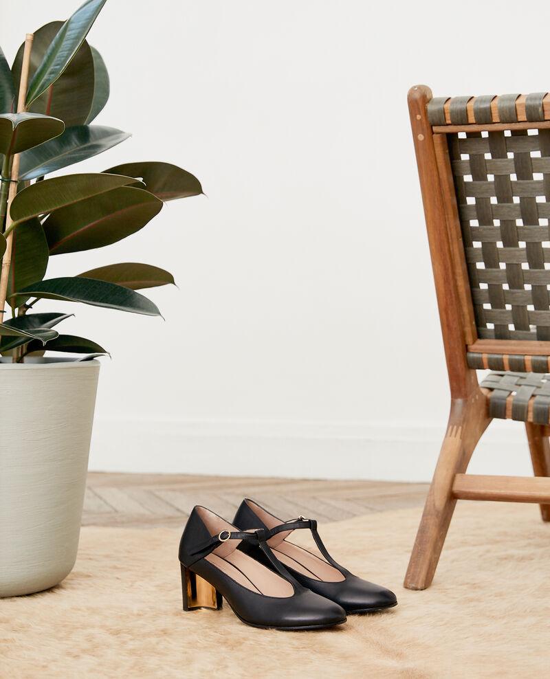 Salome-Schuhe aus Leder Noir Fillette