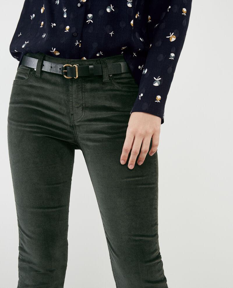 Hose in Zigarettenform mit Velours-Stretch Deep green Decharpe