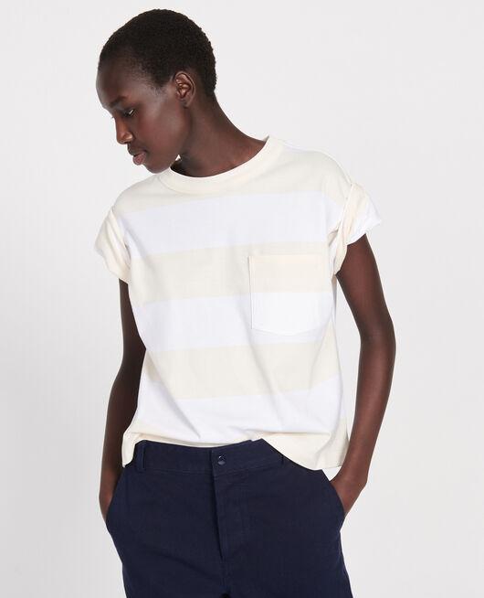 Gestreiftes Oversize T-Shirt STR OPTICALWHITE BUTTER