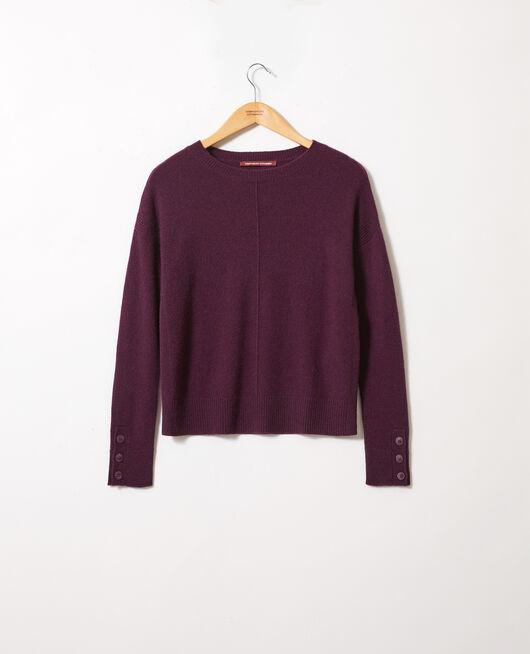 Pullover mit Knöpfen an den Ärmeln 100 % Kaschmir POTENT PURPLE
