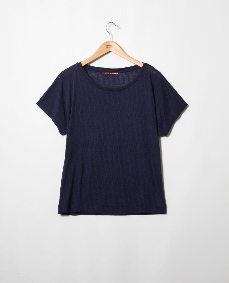 T-Shirt mit weichem Griff Dark navy Ivoire