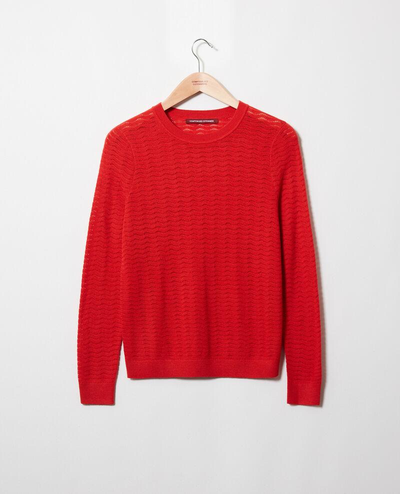 Pullover aus Zierstrick 100% Merinowolle Molten lava Jikael