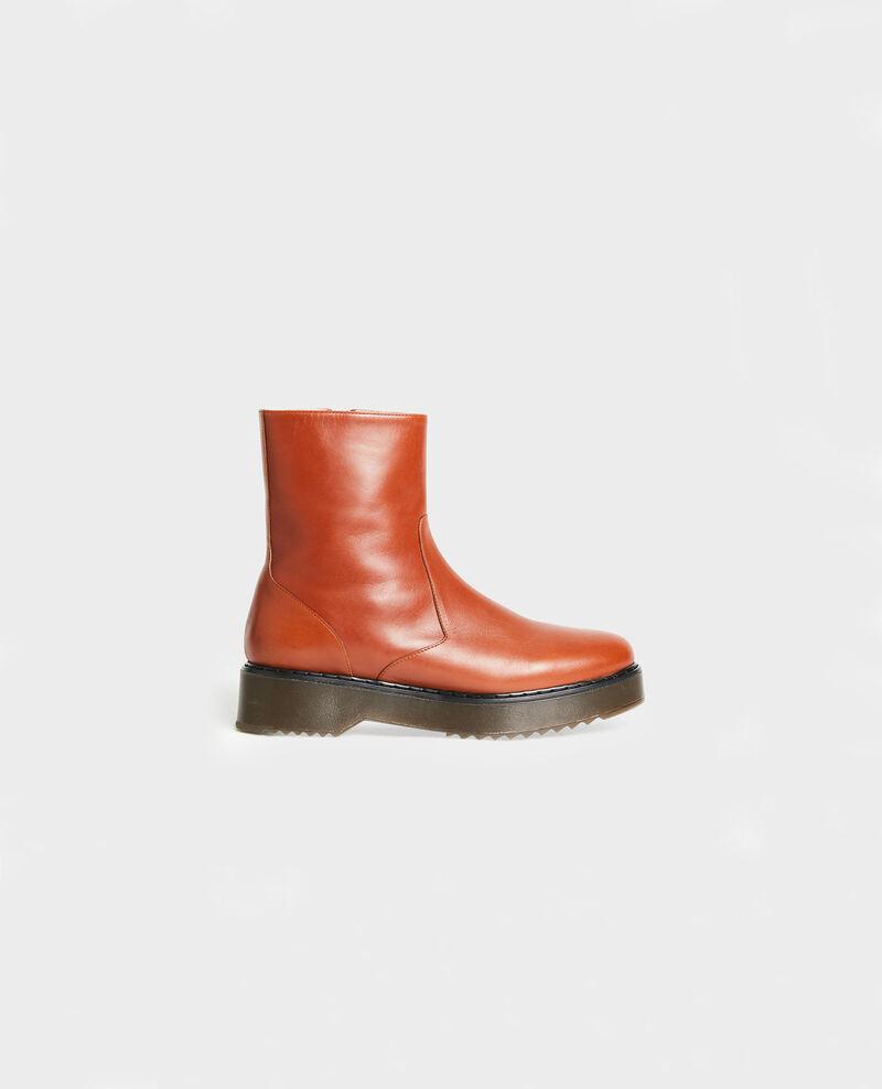 Stiefel aus strukturiertem Leder Brandy brown Melun