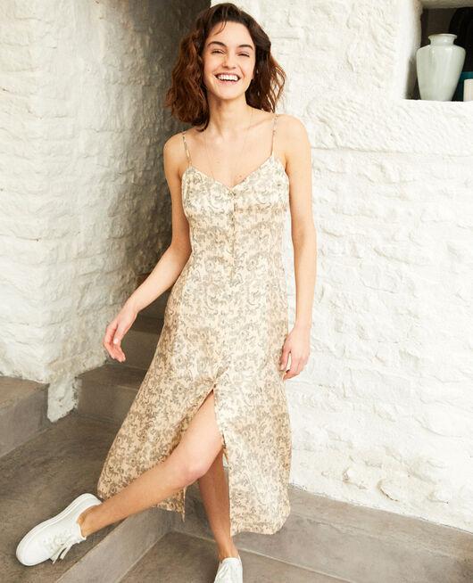 Kleid mit Seide BANDANA LIGHT BEIGE