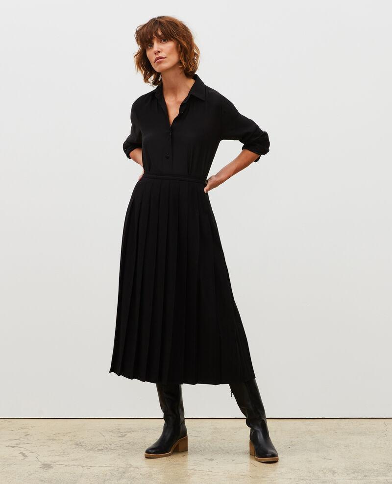 Plisseerock aus Woll-Tweed Black beauty Mialos