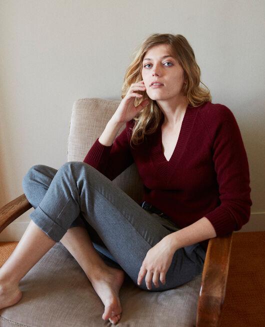 Pullover mit V-Ausschnitt mit breitem Rippstrick 100 % Kaschmir CABERNET