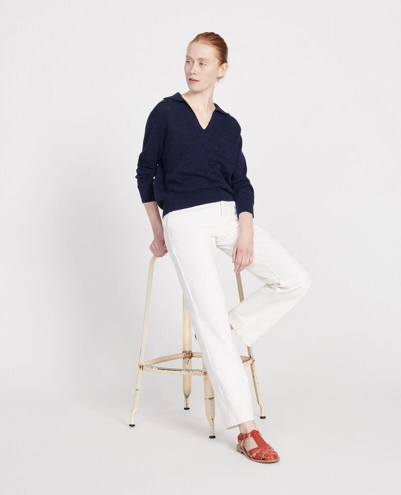 Pullover mit Leinen Maritime blue Lamande