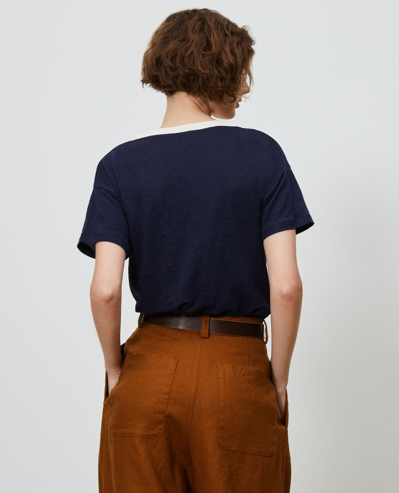 Shirt mit V-Ausschnitt aus Leinen Str maritime butter Locmelar