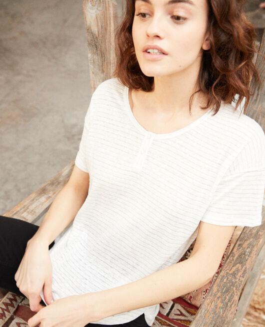 Glänzendes T-Shirt mit Leinen OFF WHITE