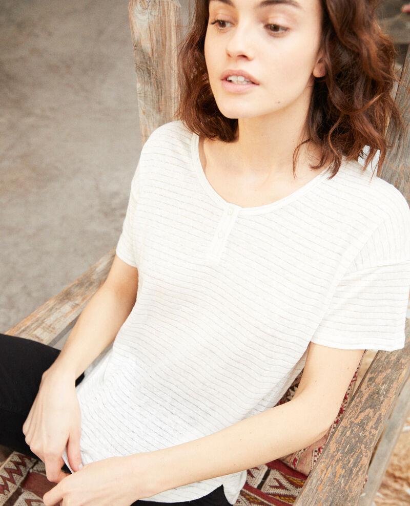 Glänzendes T-Shirt mit Leinen Off white Imape