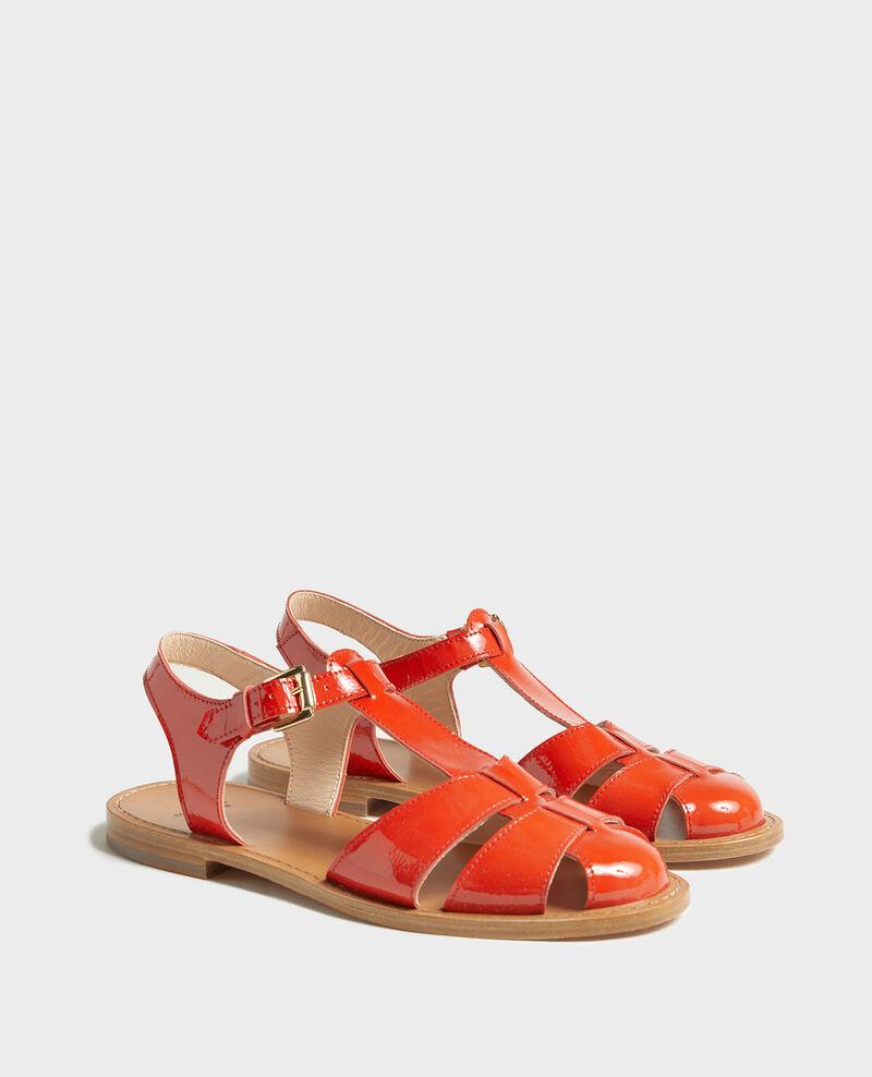 Sandalen aus Lackleder Fiery red Lapiaz