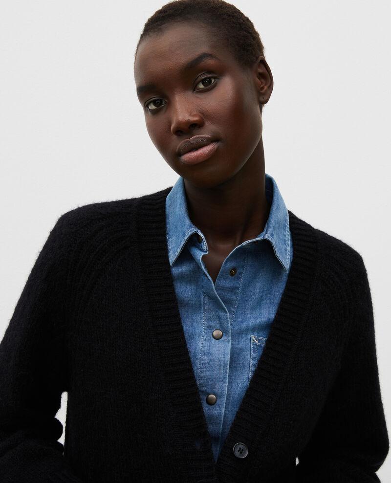 Oversize Cardigan mit V-Ausschnitt aus Wolle Black beauty Montfuji