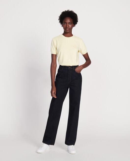 Jeans mit hoher Taille und geradem Schnitt DENIM RINSE