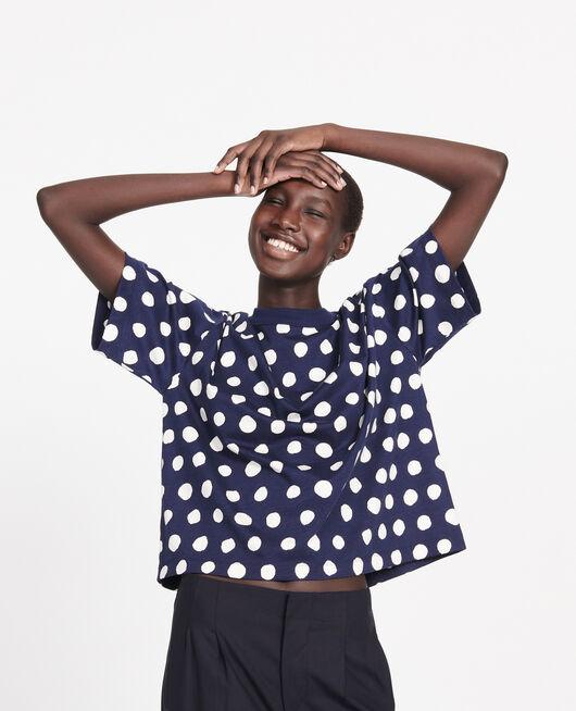 Gepunktetes Boxy T-Shirt aus Baumwolle DOTS MARITIME BLUE