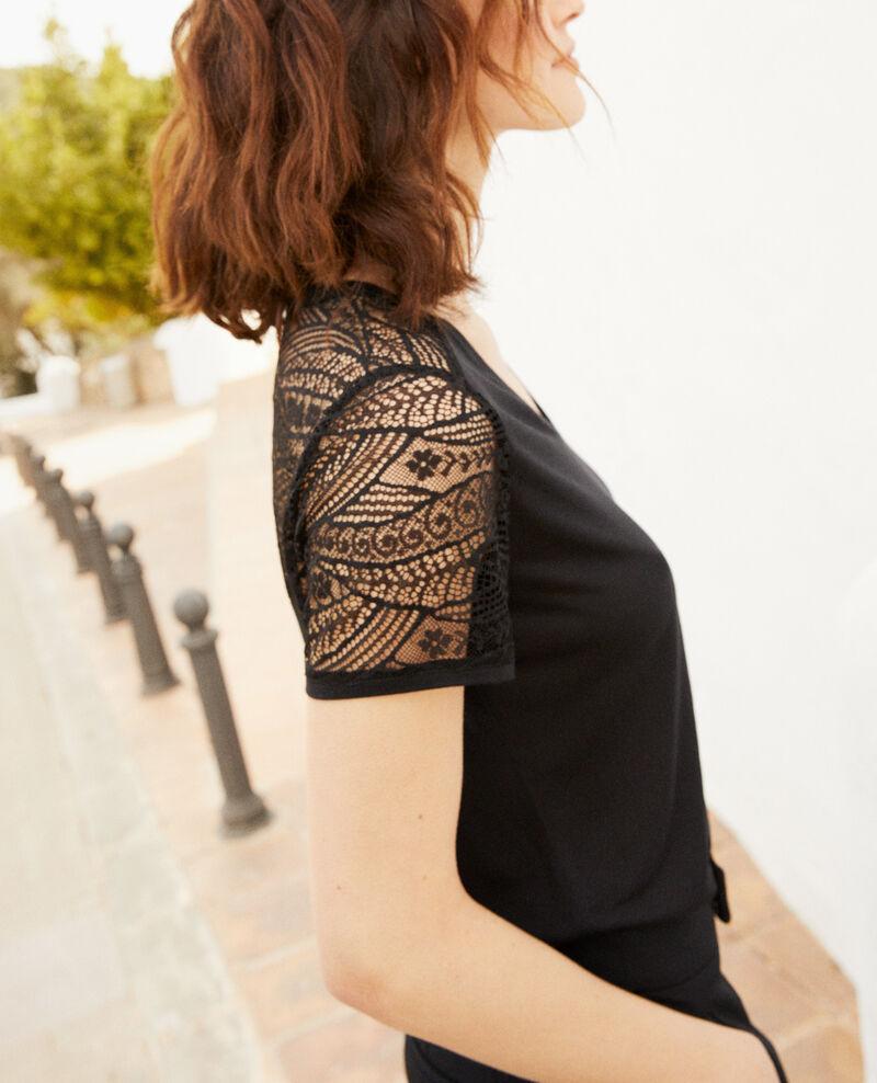 T-Shirt mit Spitze  Noir Ipommo