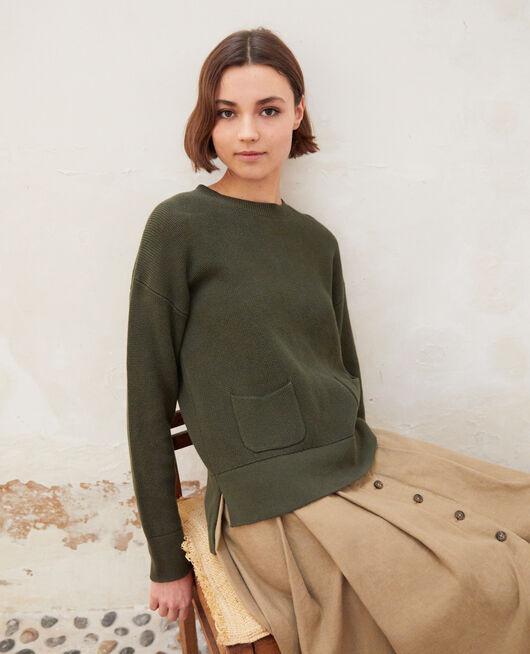 Pullover mit Rundhalsausschnitt OLIVE GREEN