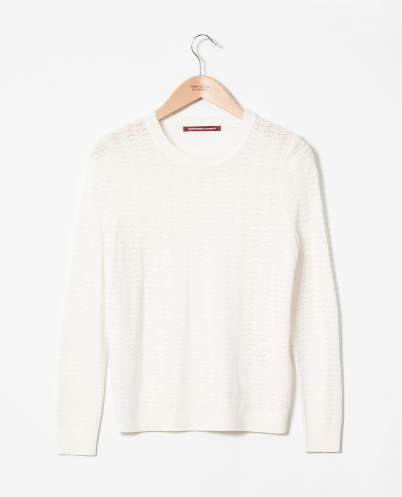 Pullover aus Zierstrick 100% Merinowolle Off white Jikael