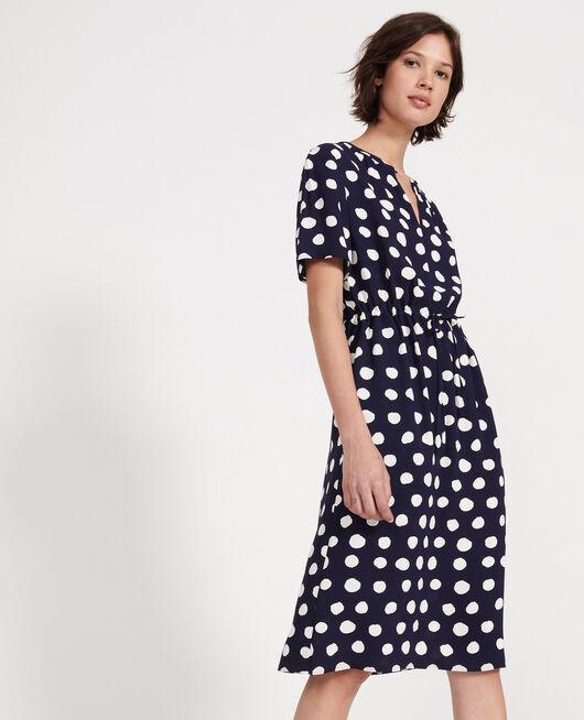 Gerades und fließendes Kleid DOTS MARITIME BLUE