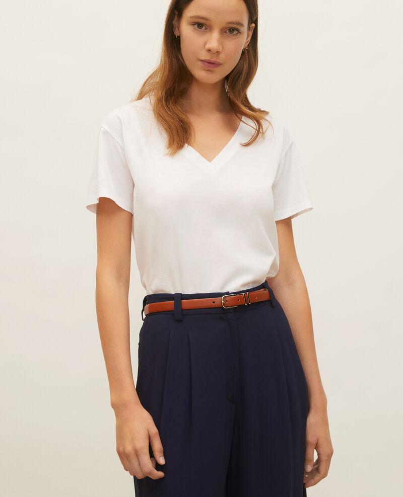 T-Shirt aus Baumwolle mit V-Ausschnitt Optical white Laberne