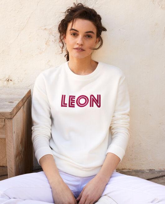 Sweatshirt mit Leon-Stickerei OW/FUSHIA
