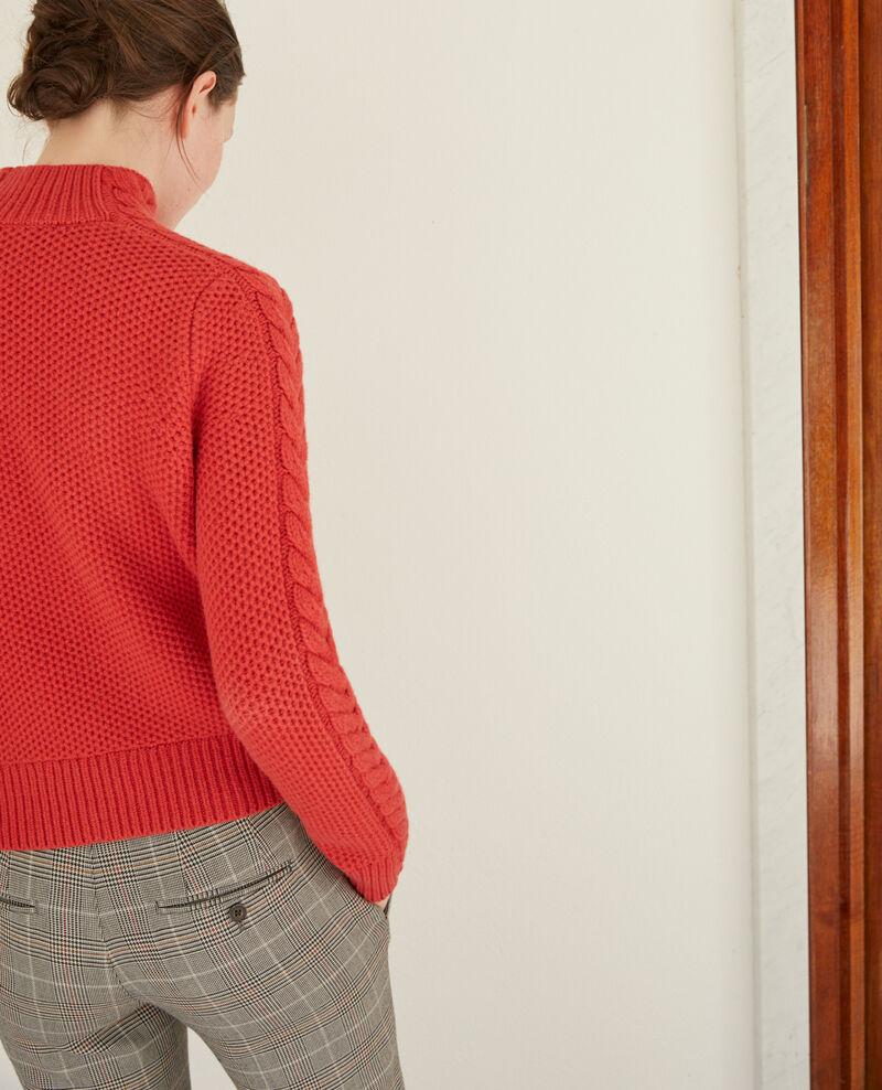 Pullover aus Wolle mit Flechtdetail Rot Garouk