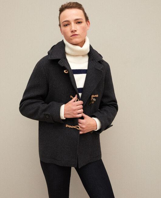 Kurzer Mantel im Dufflecoat-Stil DARK HEATHER GREY