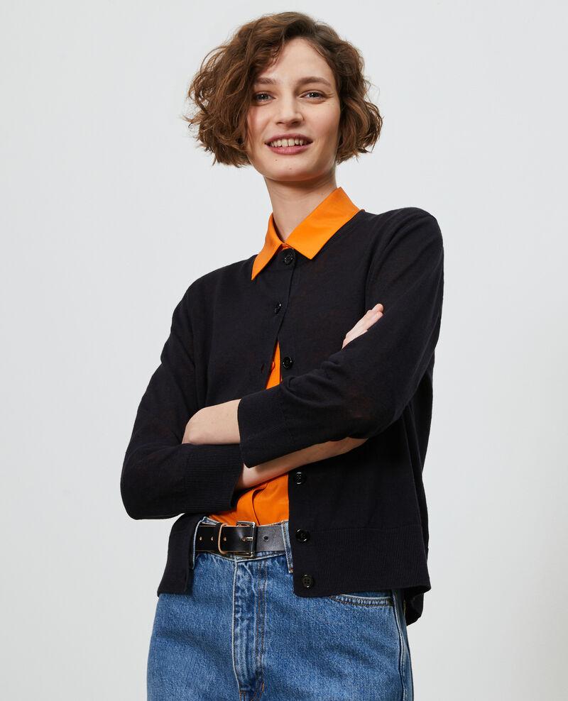 Cardigan aus Leinen und Bio-Baumwolle Black beauty Lagardi