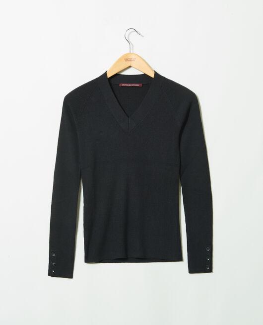 Pullover mit V-Ausschnitt 100% Merinowolle NOIR