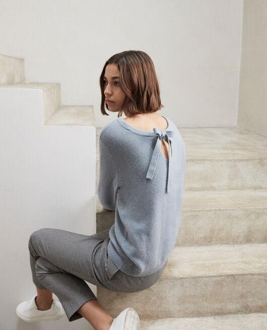 Pullover mit Rundhalsausschnitt aus Mohair BLUE MIRAGE