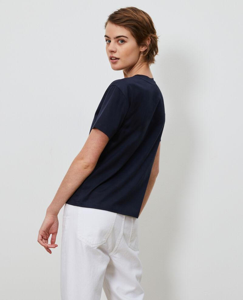 Besticktes T-Shirt aus Baumwolle Night sky Nagano