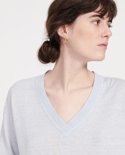 Pullover mit V-Ausschnitt aus Leinen und Baumwolle HEATHER