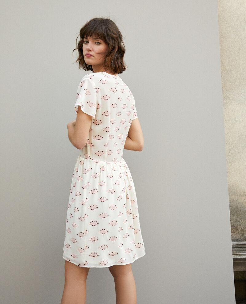 Kleid mit V-Ausschnitt Lotus fan winter white Ganaela