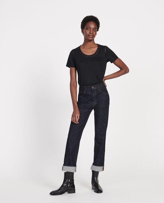 T-Shirt aus Jersey-Leinen BLACK BEAUTY