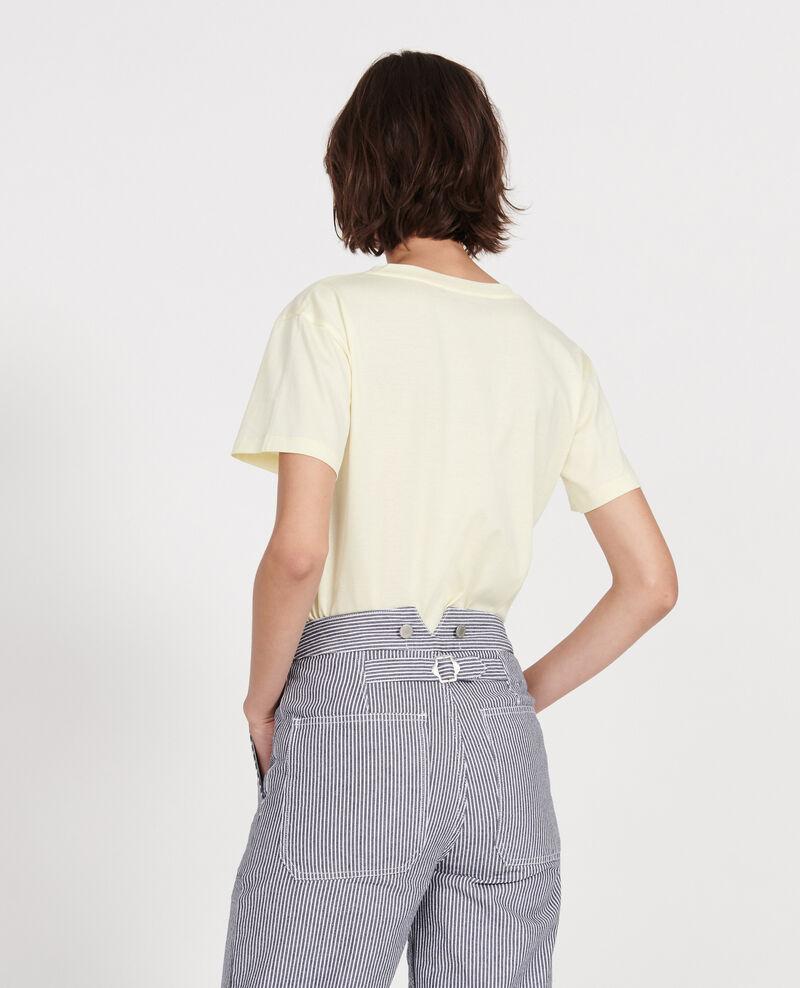 Kurzärmeliges T-Shirt aus Baumwolle mit V-Ausschnitt Tender yellow Laberne