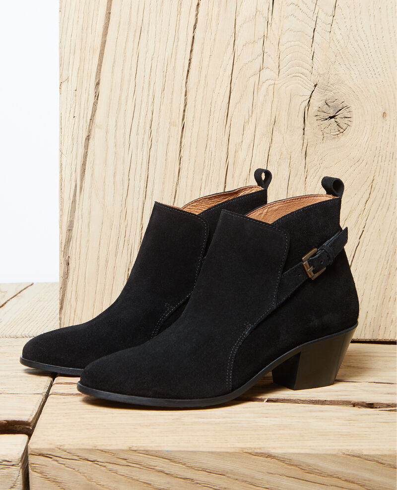 Stiefel aus Veloursleder Noir Issentiel