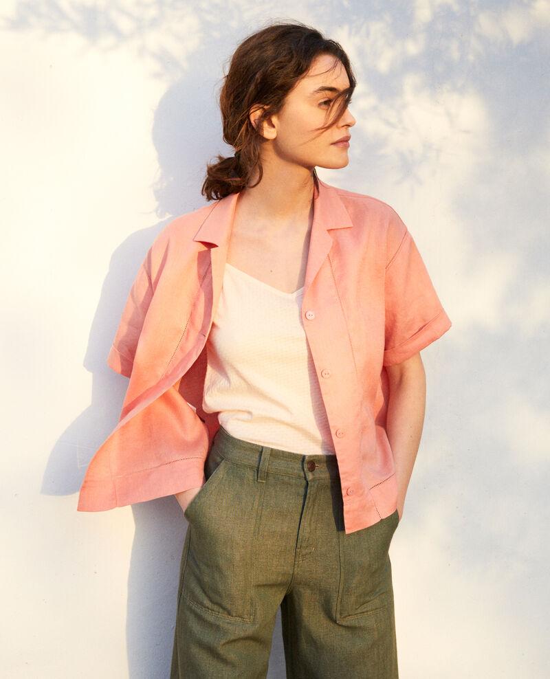 Bluse mit offenem Kragen aus Leinen Salmon pink Ilage