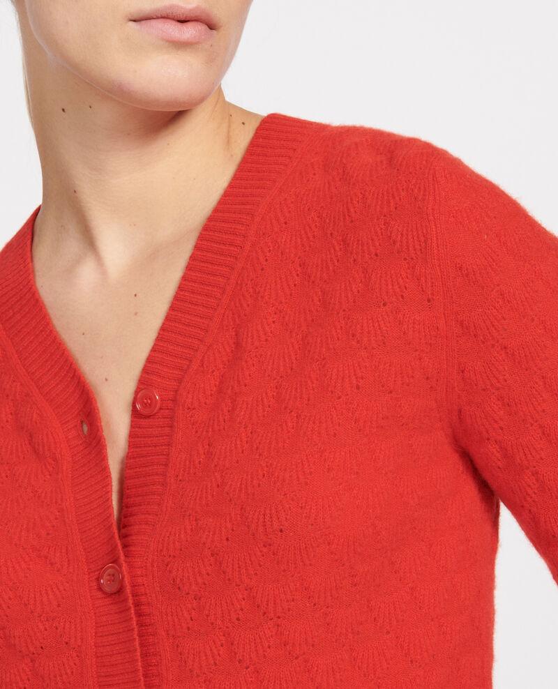 Cardigan mit V-Ausschnitt, 100 % Kaschmir  Fiery red Licate