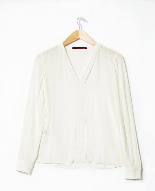 Bluse mit V-Ausschnitt Weiß