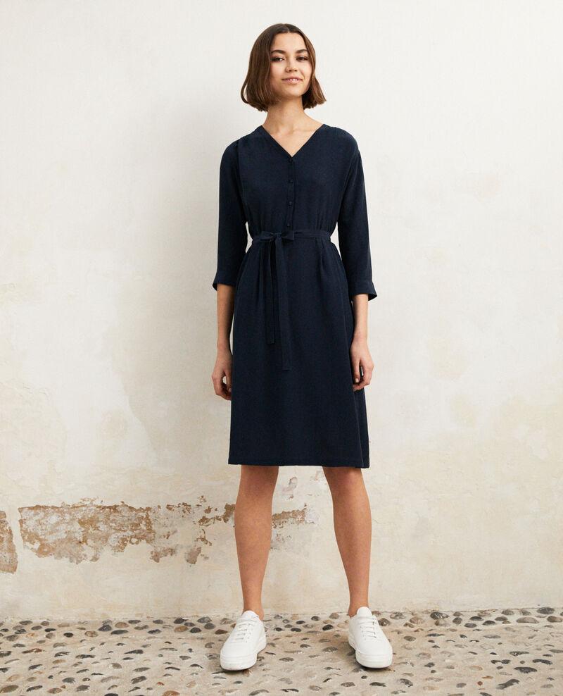 Kleid mit Midi-Länge mit Seide Ink navy Idalie