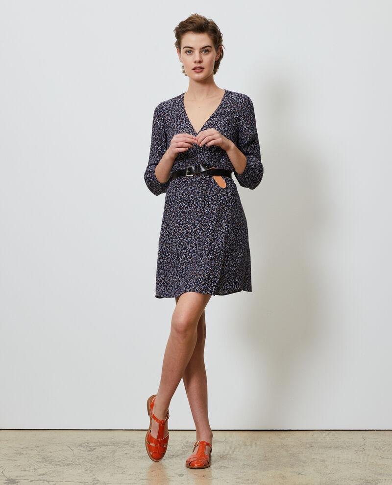 Wickelkleid aus Seide Clochette navy Nireclos