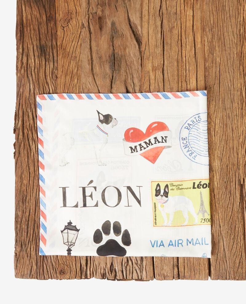 Seidentuch mit Leon-Motiv Off white Fantasque