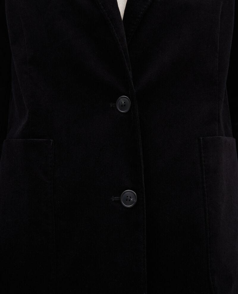 Blazer aus Samt zwei Knöpfe Black beauty Muscade
