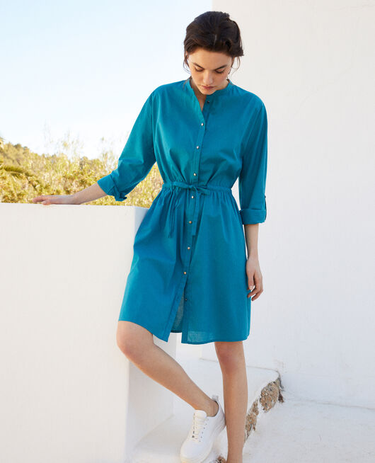Kleid mit Rundhalsausschnitt aus Baumwolle OCEAN DEPTH