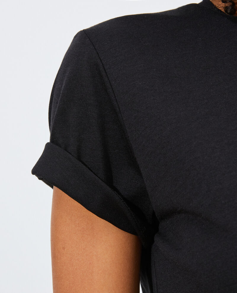 Fließendes T-Shirt mit Rundhalsausschnitt Black beauty Pirous