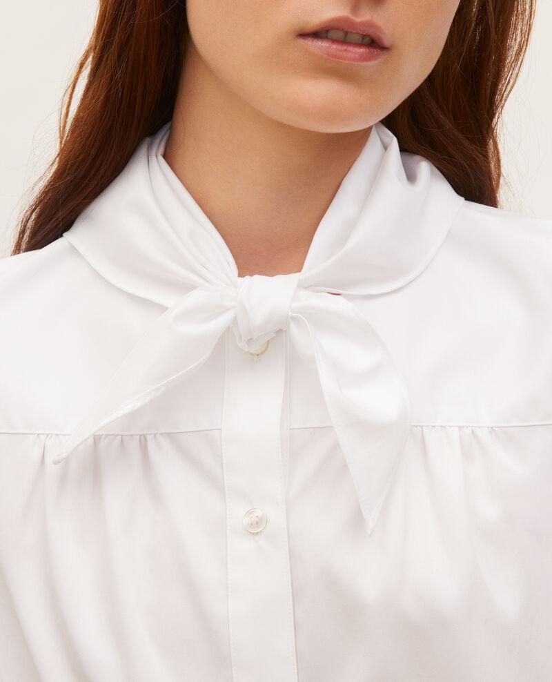 Baumwollbluse mit abnehmbarem Tuchkragen Brilliant white Manosque
