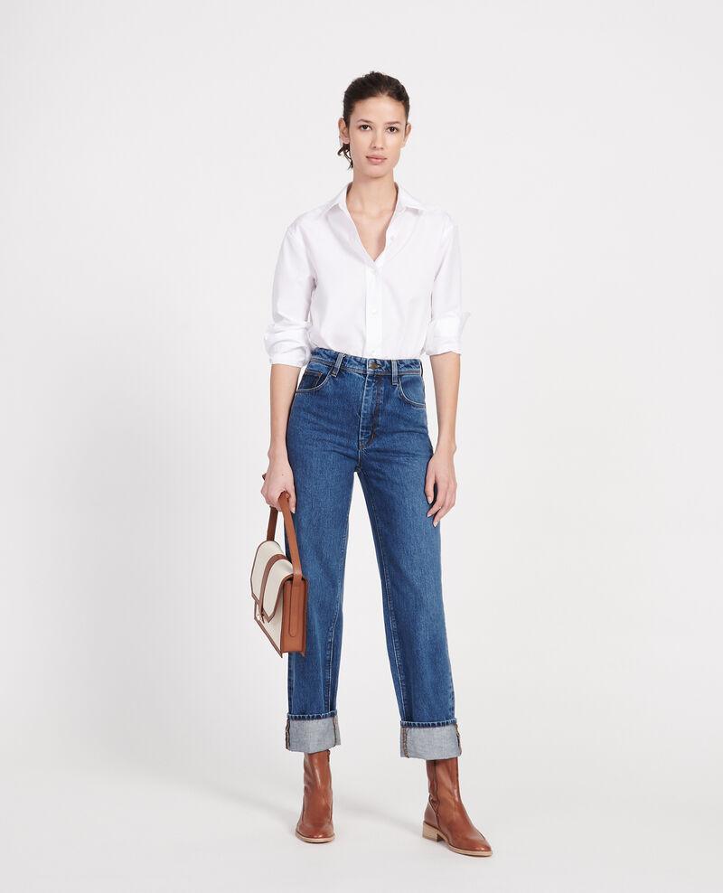 Jeans mit hoher Taille und geradem Schnitt Denim medium wash Leodou