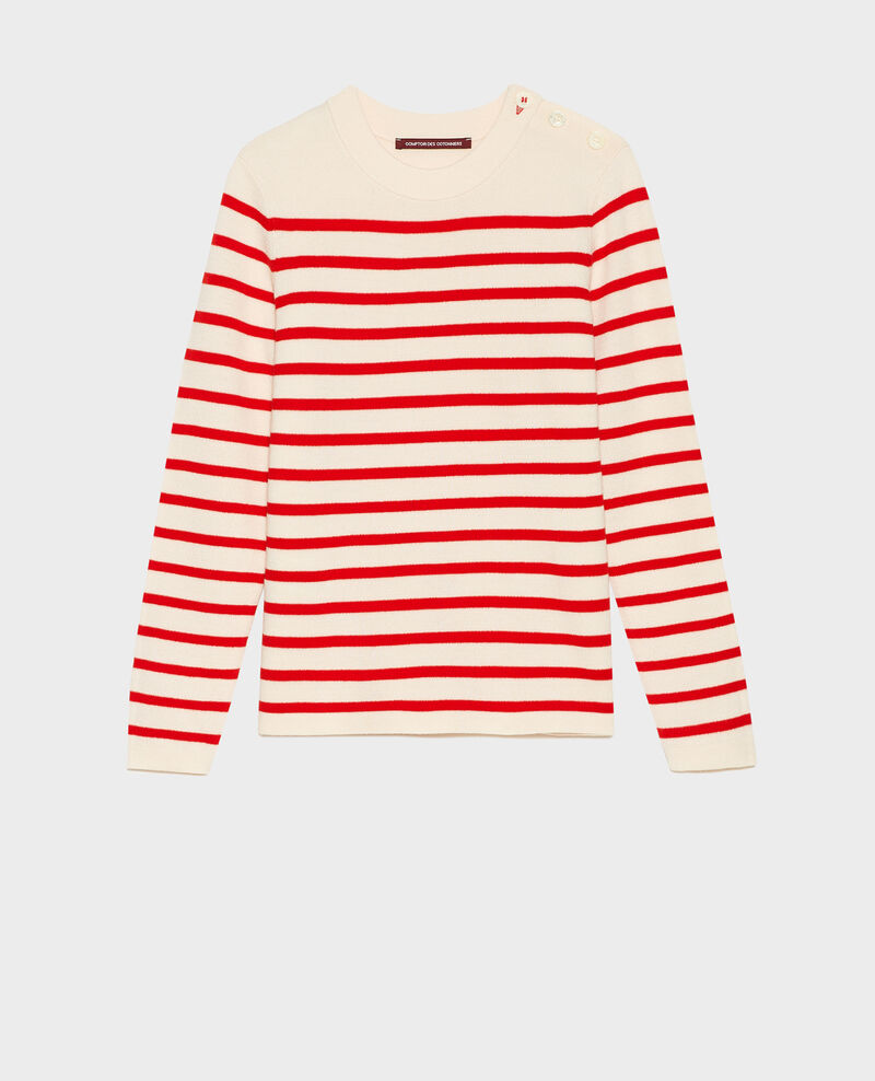 MADDY - Wollpullover im Marinelook Stripes fiery red gardenia Liselle